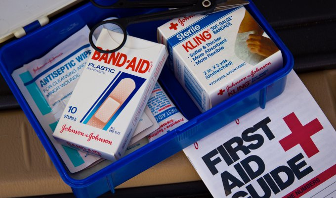 Personal first aid kit for hiking
